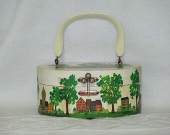 Decoupage Box Purse / Billie Ross Hand Painted Purse/ Box Purse/ Mid Century Purse/Wooden Purse/1960s By Gatormom13 SALE