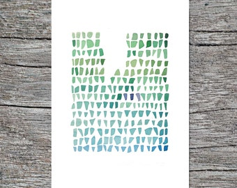Abstract art Watercolor painting green Sea Glass a nautical painting LouiseArtStudio - Archival print
