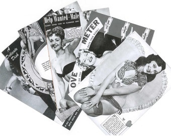 5 PIN UP POSTERS for collage or frame - Black and white