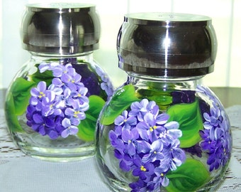 Shakers in Hand Painted Lilacs