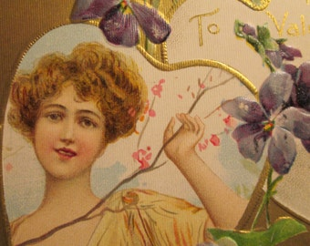 Victorian Valentine Postcard Woman with Violets and Green Ribbon - Flower Branch -Spring - Hearts