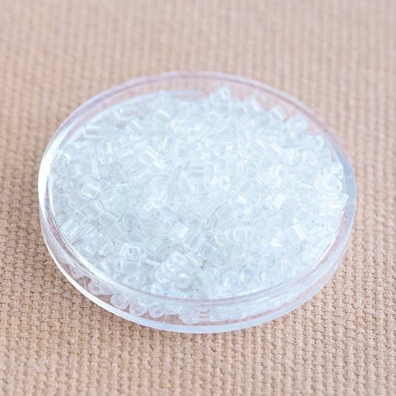 Crystal Clear Tube Seed Beads - Hexagonal Chinese Glass (2mm x 2-2.5mm) x 8gms