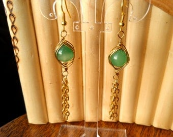 Gold Herringbone Woven Green Bead with Gold Tassels, Gold Earrings, Green Earrings, Wired Earrings