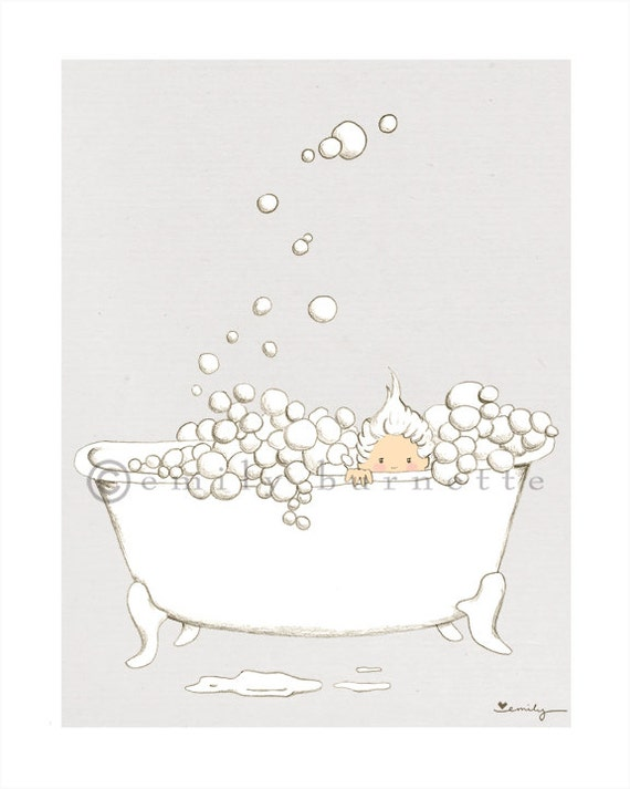 Bathtub Nice and Clean Print - Childrens Bathroom Art - Bubbles - Bathtub - Kids Bathroom - Watercolor - Emily Burnette - Recipe 4 Cute