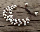 Snow White Baroque Pearl Bracelet, 4-Strand Bracelet, Bridal Bracelet, Multistrand Delicate Bracelet, Beach Wedding Bracelet, Santorini Chic