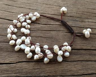 Real Pearl Bracelet, Handmade Bridal Dainty Bracelet, White Pearl Woven Bracelet, Beach Wedding Bracelet, Boho Wedding, Pearl Jewelry