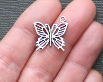 8 Butterfly Charms Antique  Silver Tone - SC1048
