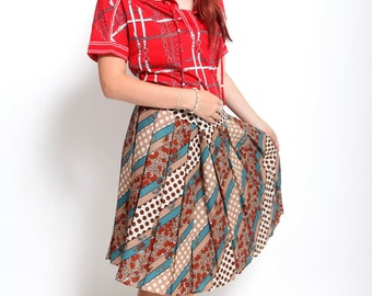 Vintage 1980s brown red polka dot pleated skirt