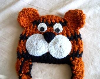 Tiger Hat - Baby Tiger Hat - Baby Hats - Baby Mascot Hat -Halloween Costume - Bengals Tiger Hat - by JoJosBootique