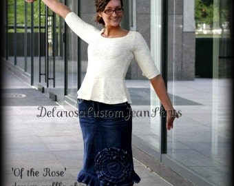 Of The Rose Jean Skirt Custom Order w/ elegant scalloped edge ruffling all the way around bottom  size 0-2-4-6-8-10-12-14-16-18-20-22-24-26