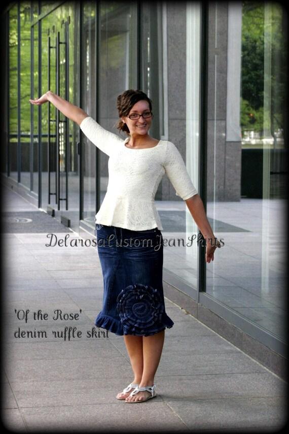 Of The Rose Jean Skirt Custom Order w/ elegant scalloped edge ruffling all the way around bottom  size 0-2-4-6-8-10-12-14-16-18-20-22-24-26