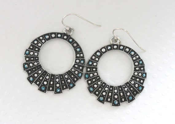 Vintage Black Silver and Turqouise Mod Hoop Earrings - Geometric Hoops