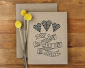 Mothers Day Card  - May Your Mother's Day Be Lovely - Hand Lettered Eco Friendly Card - BubbyAndBean