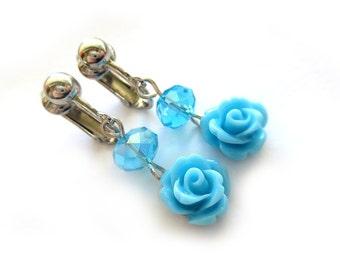 Sky Blue Beaded Rose Dangle Clip On Earrings - Non-Pierced Ears