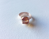 Amber Cube Multi-faceted Rose Gold Wire Wrapped Ring