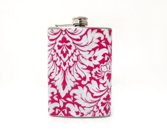 Pink White Flask, 6 oz Stainless Steel, Hip Flask, Wedding Flask, Womens Flask, Bridesmaids Gift