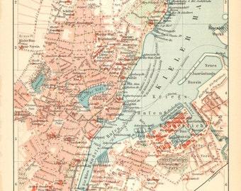 1905 Original Antique City Map of Kiel