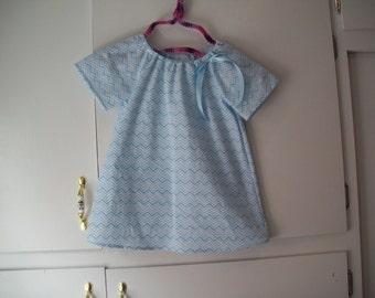 Peasant Dress Light Blue Mini Chevron, Short Sleeves, Toddler Size 2T, Ready to Ship