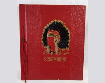 1940s scrap book - Native American Chief front design - embossed hardcover - Unused