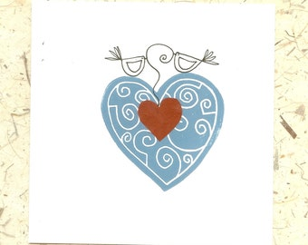 Wedding Anniversary - Valentines Handmade Blank Card - Linocut - Teal Blue & Red Heart and Love Birds - Original Lino Print