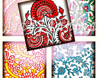 Digital Collage of Indian ornaments - 63 1x1 Inch Square JPG images - Digital Collage Sheet