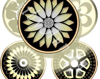 Digital Collage of gold and black - 48 1.313 Inch Circle JPG images - Digital Collage Sheet