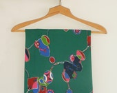 Green Vintage Fabric with 70s psychedelic pattern