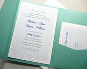 Beach Wedding Invitation Teal Blue Pocketfold Scallop Sea Shell Teal Ocean Classic Royal Blue Traditional Satin Ribbon Wrap