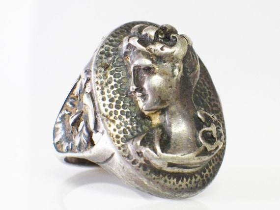 Sterling Cameo Ring Repousse Sterling Late Victorian Era Circa 1890s Size 7
