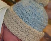 Blue Newborn Baby Boy Hat in Pure Alpaca with Pom Pom
