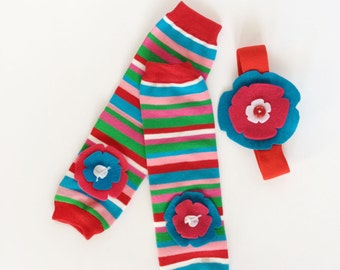 Flower Baby Leg Warmers Aqua Red Pink stripes with matching headband
