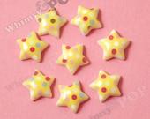 10 - Little Polka Dot Yellow Star Resin Flatback Cabochons, Star Cabochons, 13mm x 5mm (R6-106)