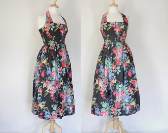 80s Cotton Floral Halter Dress