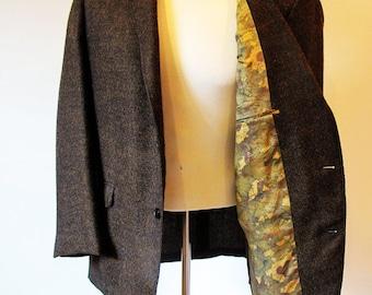 Vintage 60s Brown Mens Jacket, 1960s Brown Wool Blazer, Mad Men Clothes, Brown Coat