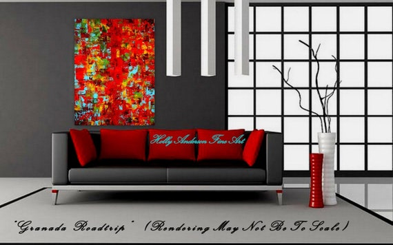 FREE SHIPPING Granada Roadtrip - a 30x40 Original Heavily Textured Contemporary Painting by Holly Anderson