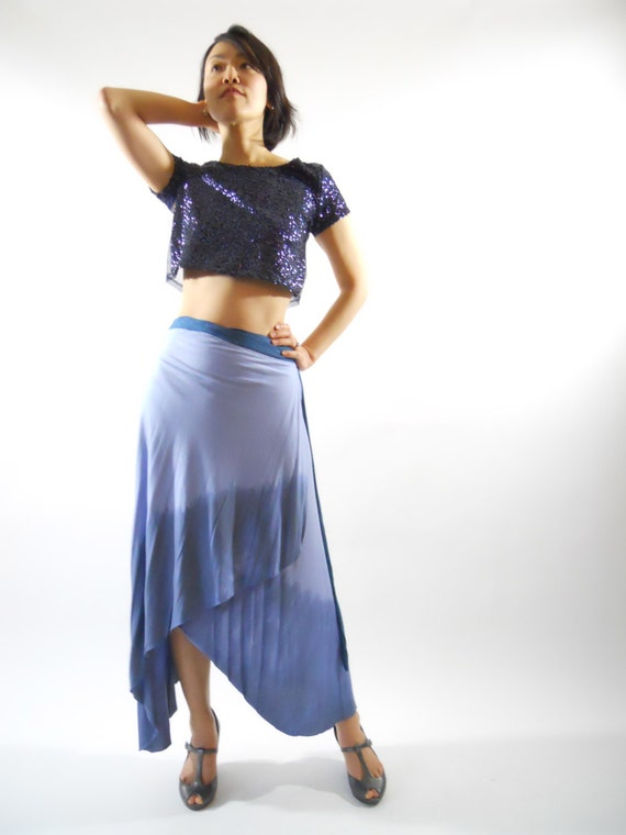 ON SALE was 69 Dollars Blue Wrap Skirt asymmetrical long maxi skirt tie dye dip ombre resort spa yoga clothing spring summer Rose Temple