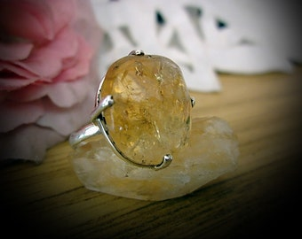Authentic Golden Rutiles RUTILATED QUARTZ Jeweled in 925 Sterling Silver (Stamped) Ring - Size 6.75 - TREASURY Item