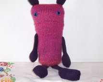 "Monster Toy  Knit Doll ""Miss Pinky""  Pinky Purple Yarn Childs Toy Handmade"