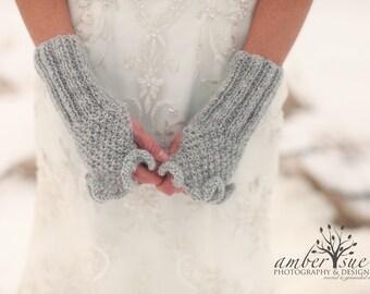 Bridal Gloves,Wedding Gloves,Bridal Mittens, Knit Gloves,Gray Gloves,,Bridal Fingerless,Winter Wedding Gloves, Mittens, Wrist warmer