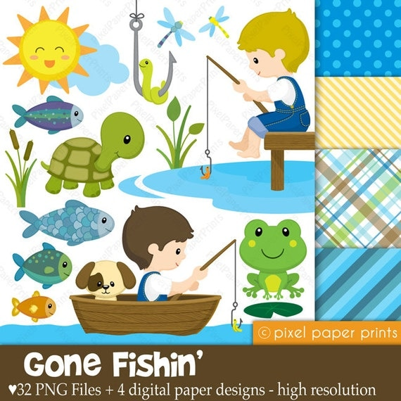 gone fishing clipart and digital paper set by pixel paper prints rh catchmyparty com gone fishing cartoon clipart Going Fishing Clip Art