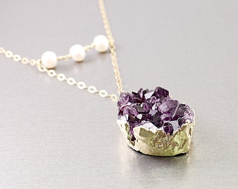 Crystal necklace: amethyst druzy necklace, 14K gold filled druzy jewelry, purple stone necklace, amethyst necklace February birthday gift