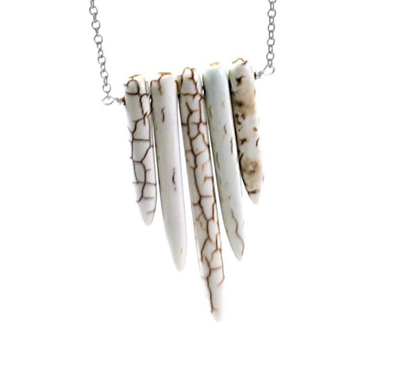 Stone spikes necklace: tribal necklace, white bohemian necklace boho, rustic necklace