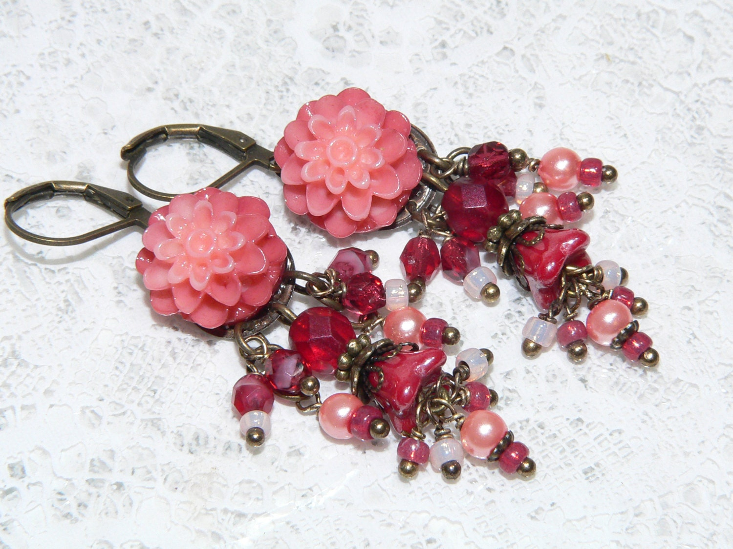 Items similar to Victorian Jewelry Resin Flower Earrings Fruit Punch Ch