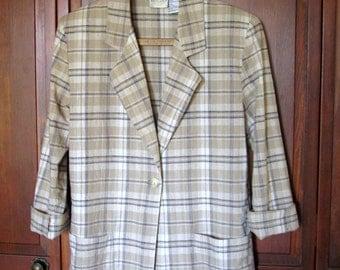 Linen Jacket plaid blazer cotton lightweight spring jacket vintage 90s tan black pockets women small medium Bentley