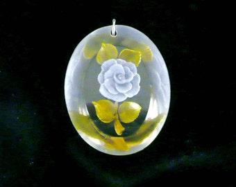 Rose Lucite Necklace Pendant Reverse Carved Blue Vintage
