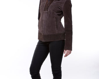 Upcycled brown suede jacket with zipper.