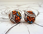 Orange and White Fabric Button Earrings