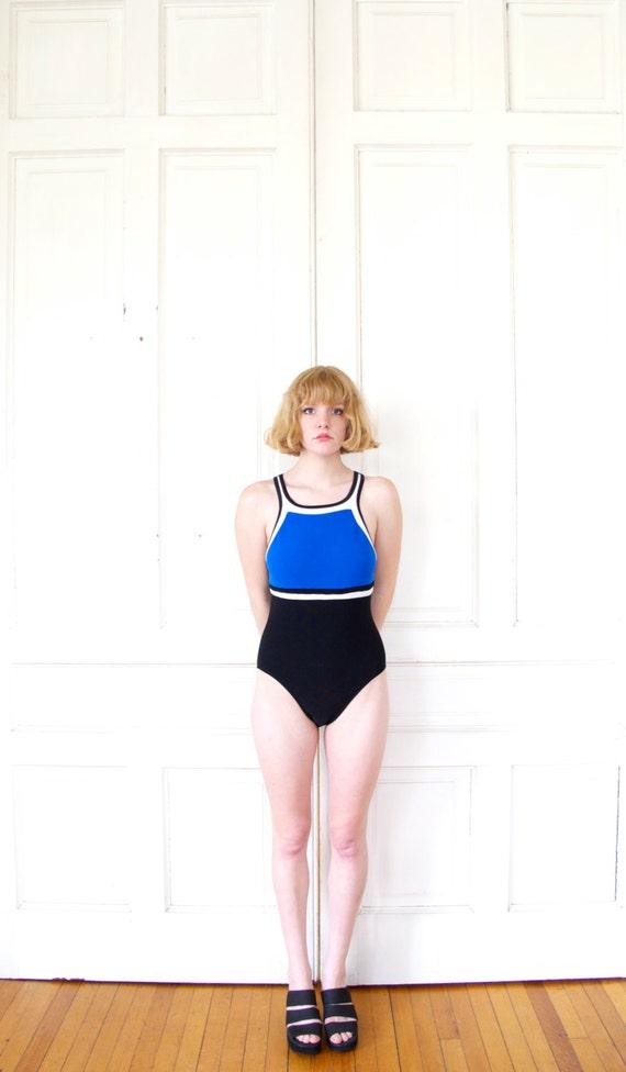 90s Color Block One Piece Swimsuit / Sporty Geometric Bathing Suit
