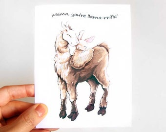 Cute Llama Card, Mothers Day Card, Custom Gift, Fathers Day Card, I Love You, Blank Note Card, Personalized Message, Funny Greeting Card