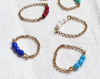 Chain ring, stacking ring, dainty colorful ring, colorful  glass beads on a chain, glass beaded chain ring